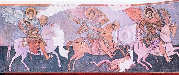 Изображение трёх всадников внутри церкви