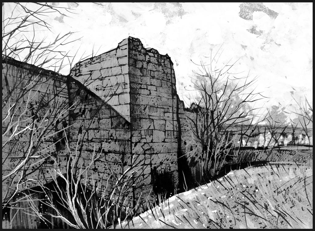 Рисунок: Восточная стена Чуфут-Кале