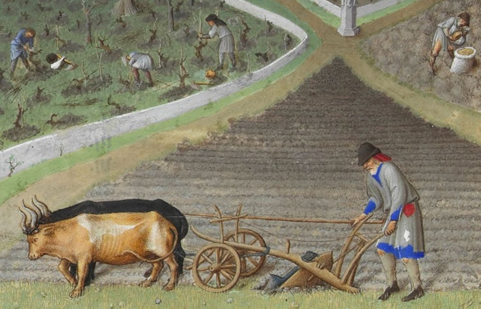 На картинке: средневековый промысел - землепашество