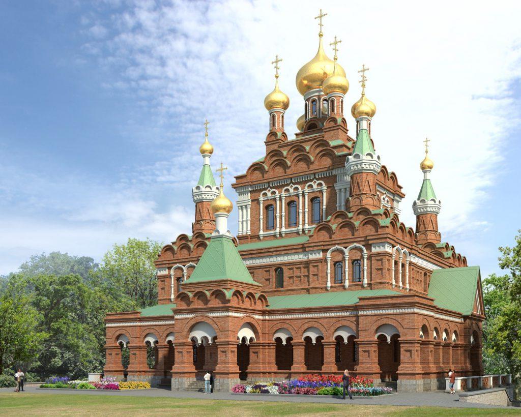 На фото показан восстанавливаемый храм Святой Живоначальной Троицы