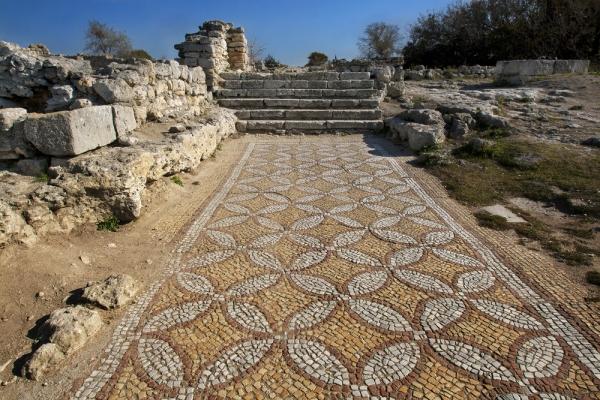 Изображена напольная мозаика в базилике апостола Петра