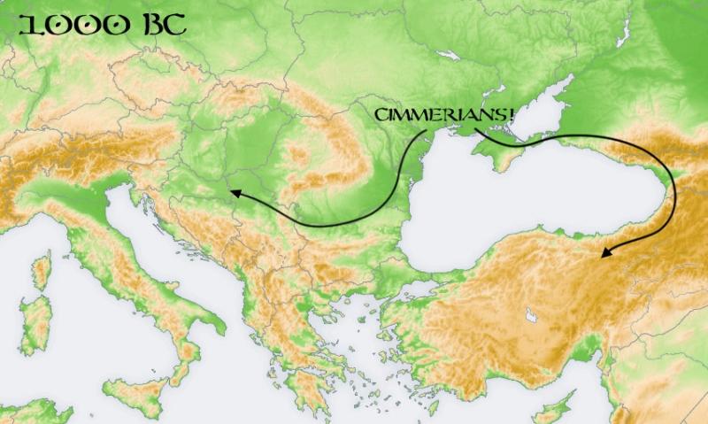 На карте миграция киммерийцев