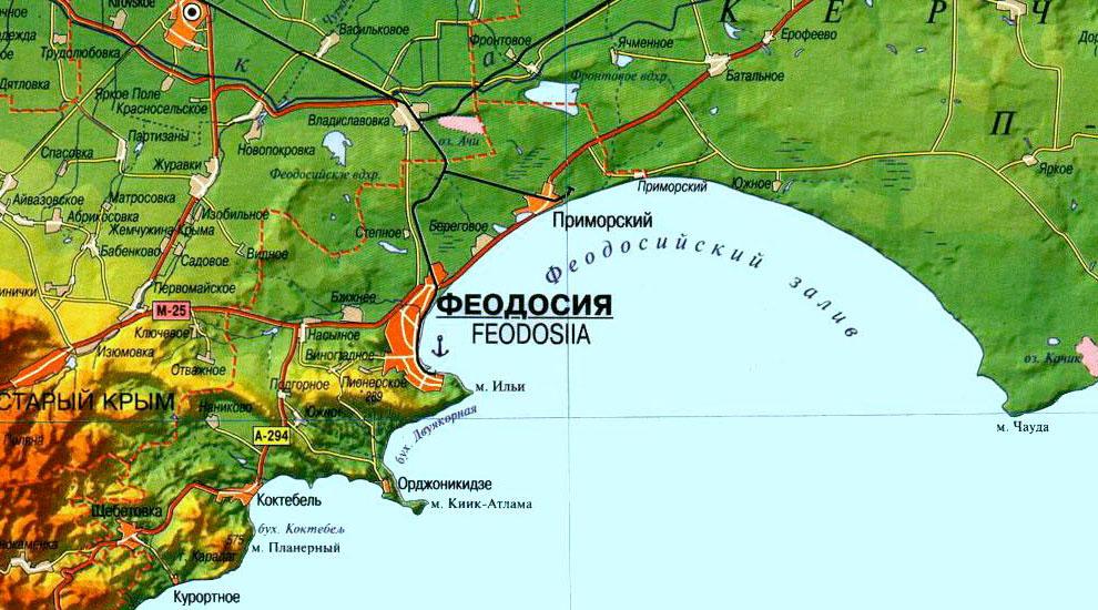 На карте показана Феодосийская акватория