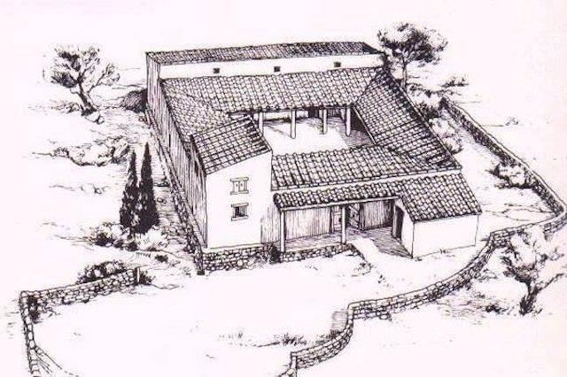 На картинке изображена древнегреческая усадьба