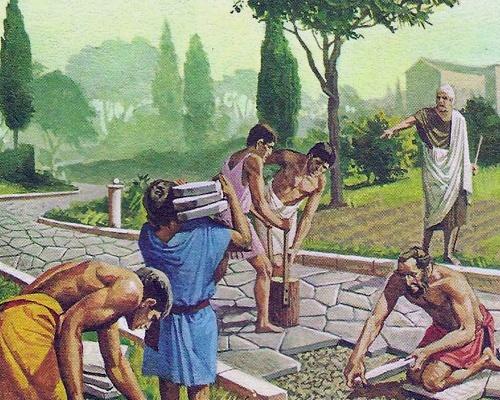 На картинке показано использование рабского труда в городах-колониях