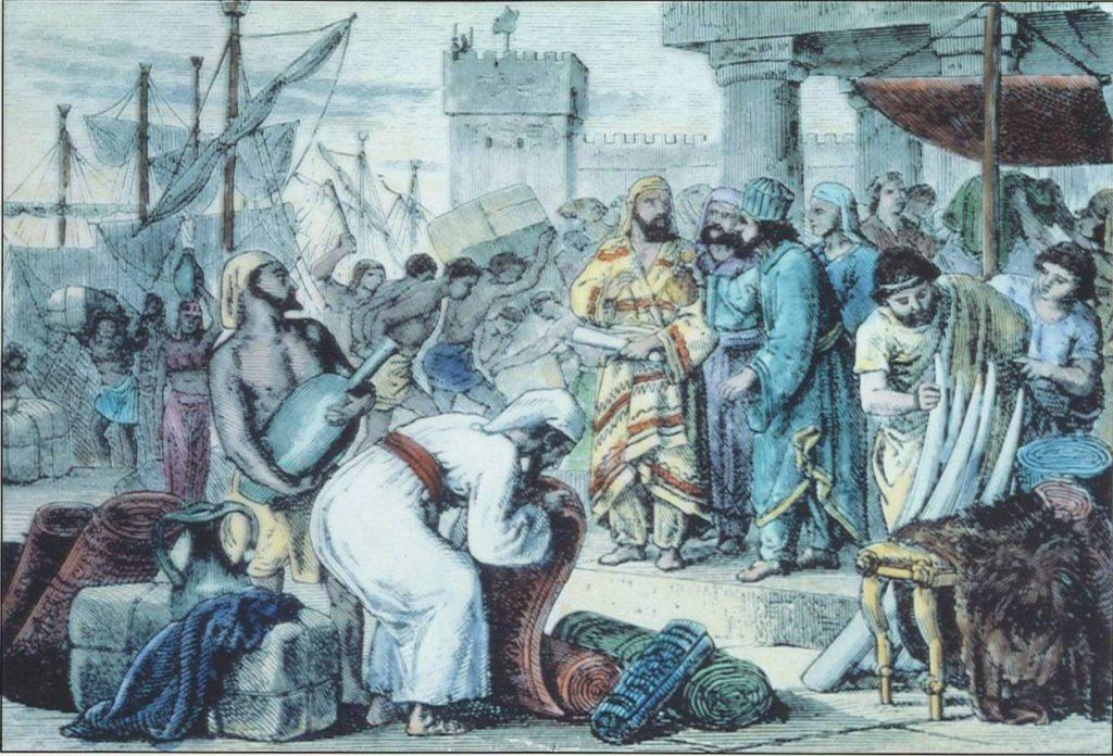 На картинке показана торговля в древней Феодосии