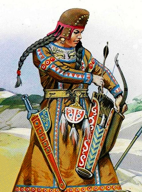 На картинке изображена сарматская женщина-воительница