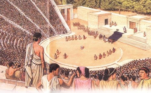 На картинке показан античный театр. Литература и театр в античной Феодосии