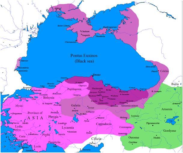 На карте Понтийское государство в древности